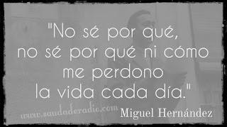 """""""No sé por qué, no sé por qué ni cómo me perdono la vida cada día."""" Miguel Hernández - Me sobra el corazón"""