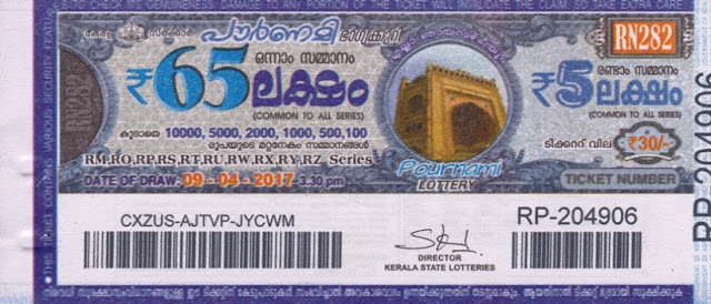 Kerala lottery result official copy of Pournami_RN-280