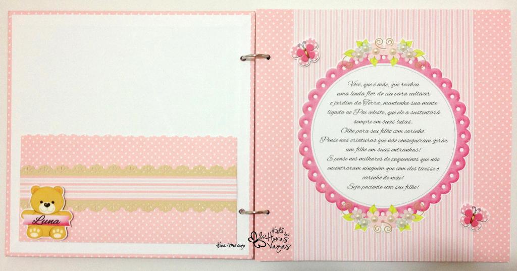 livro álbum de mensagens aniversário nascimento chá de bebê infantil urso ursinho rosa e bege menina