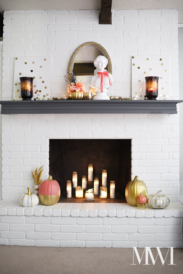 This fall home tour is filled with coral, gold and leopard print for a modern, chic take on fall decor. Lots of fabulous and affordable ideas that are easy to implement in any space. This mantle is so pretty!