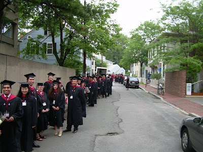 Harvard Extension School graduates lining up for Commencement