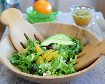 Winter Greens Salad with Oranges, Avocado, Olives, Feta & Orange-Cumin Vinaigrette, another simple seasonal salad ♥ AVeggieVenture.com