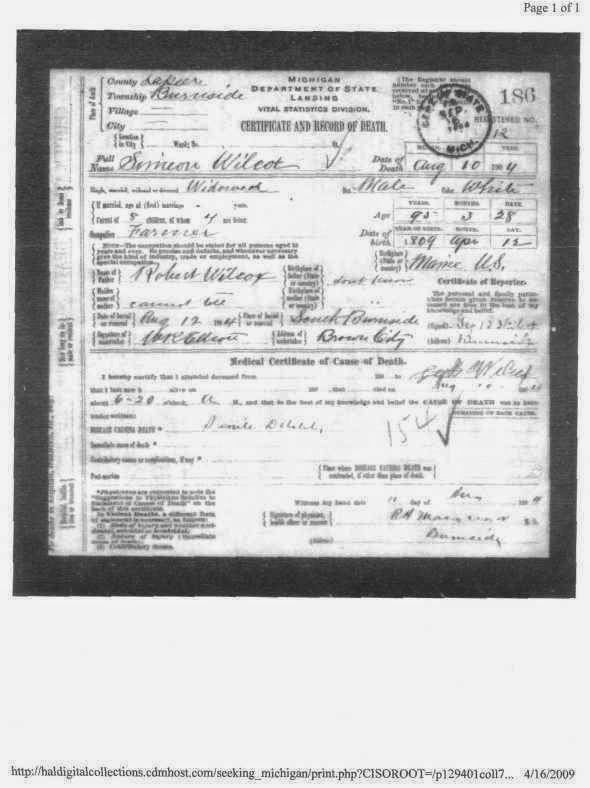 Climbing My Family Tree: Death Certificate of Simon Wilcox