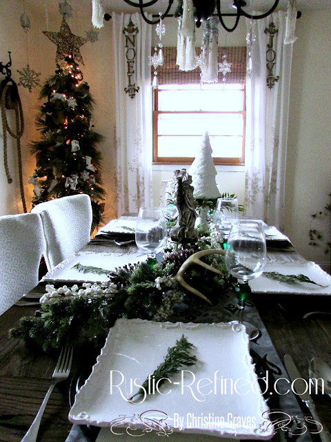 Silver and White Rustic Christmas Tablescape on Rustic-refined.com