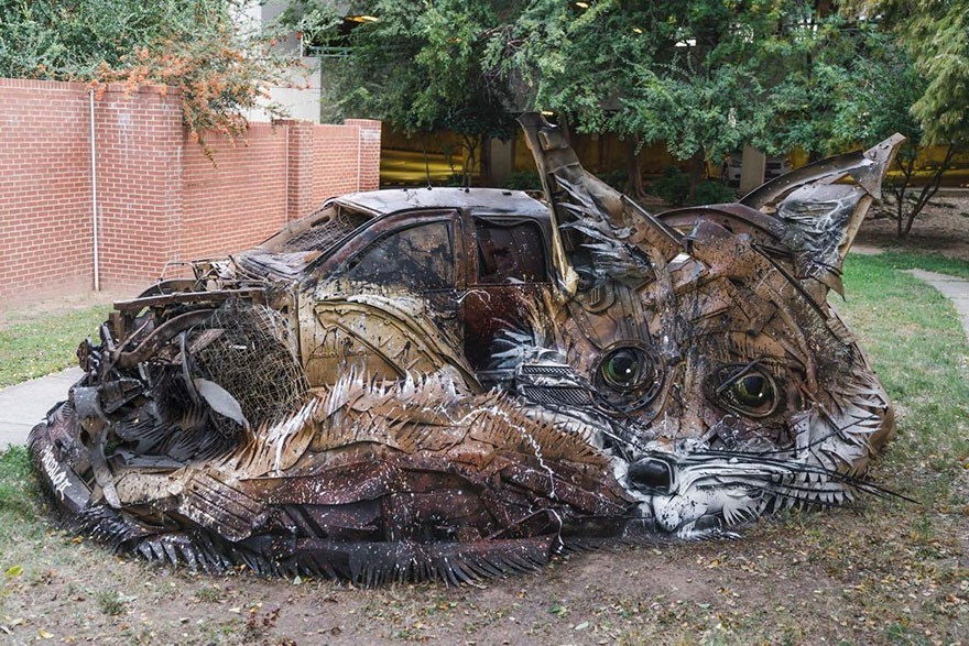 Musang - Seni Lukisan Binatang Menakjubkan Dan Kreatif Dari Bahan Sampah