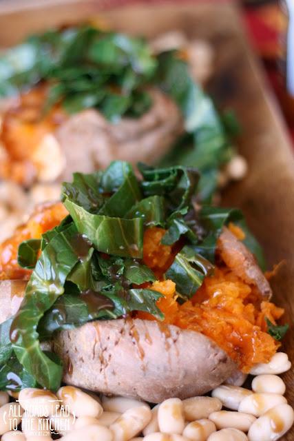 Honey Balsamic Roasted Sweet Potato with Collard Greens