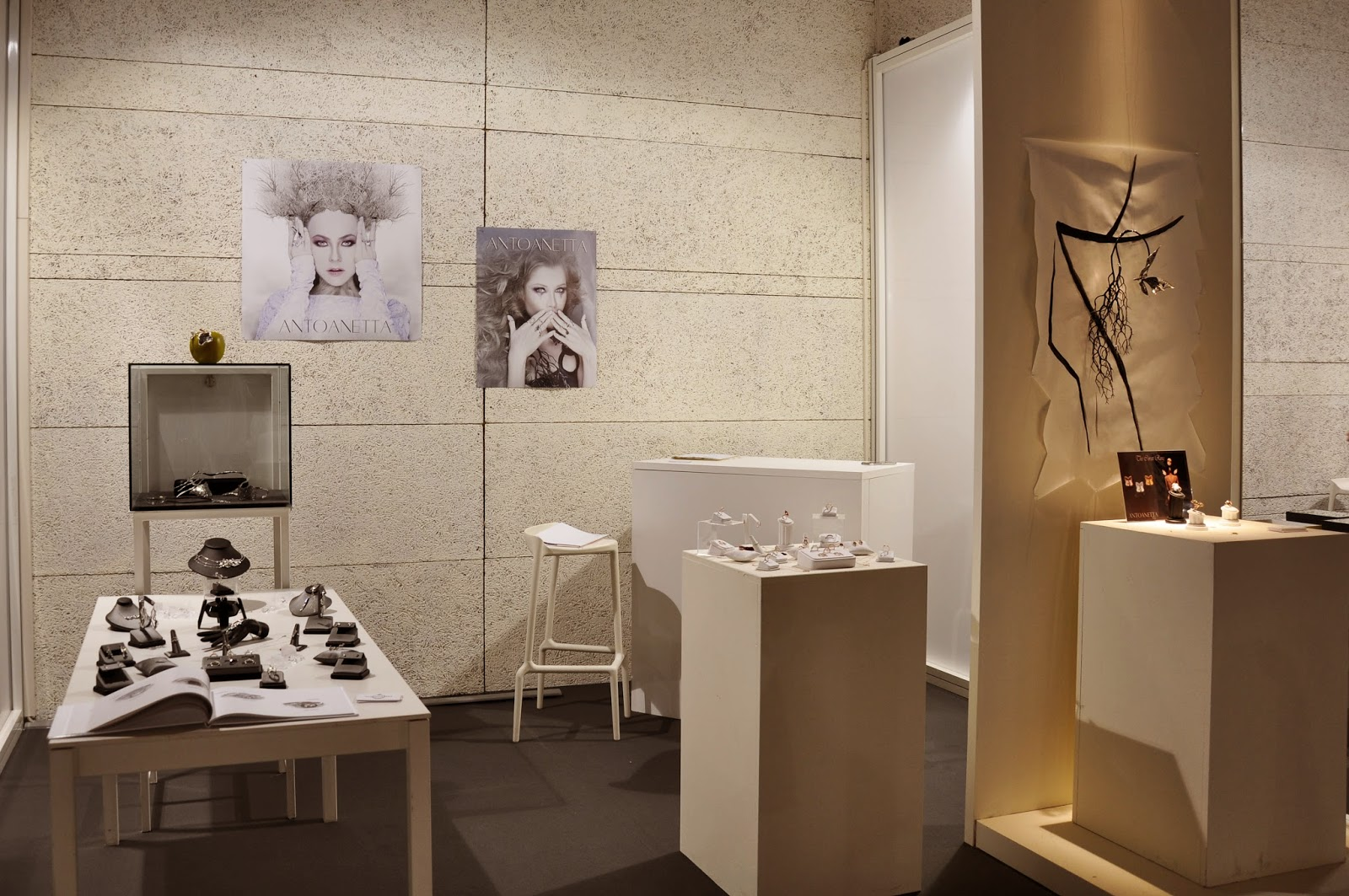 The booth of Antoaneta Ivanova of Antoanetta Fine Jewellery at Origin Fair in Vicenza, Italy