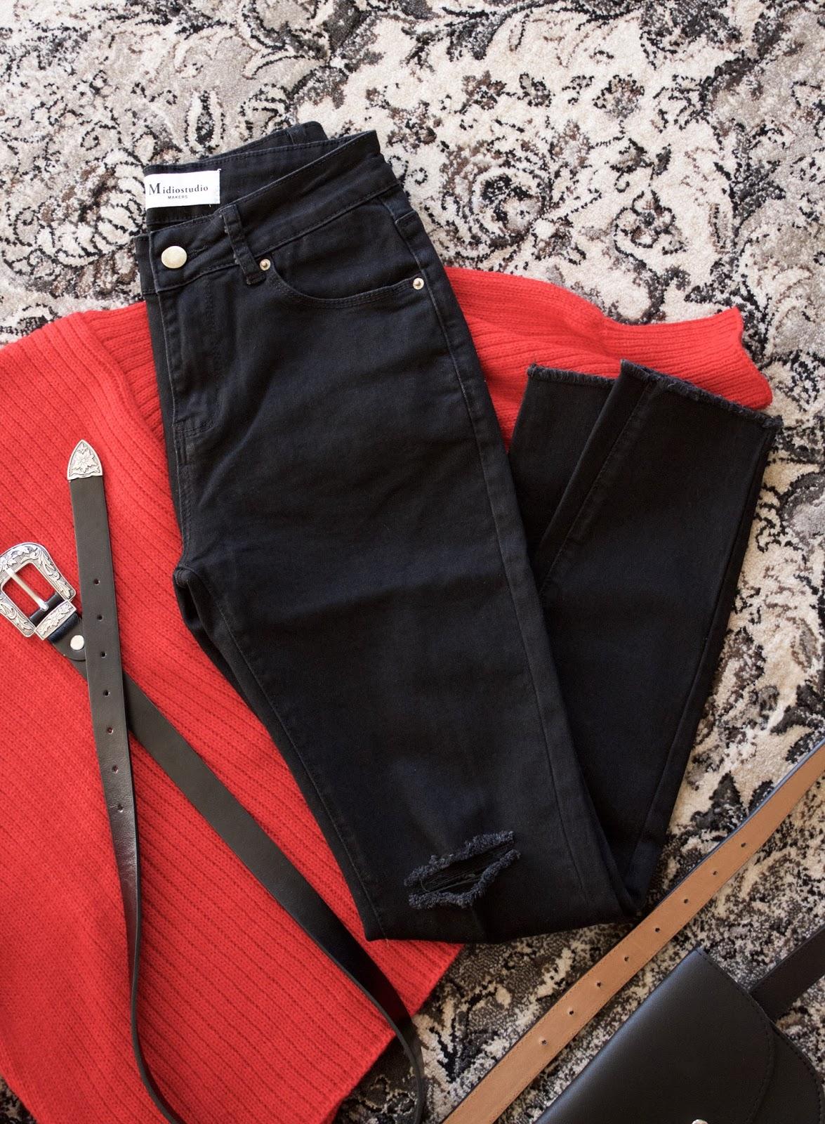 Stretchy Skinny Destroyed Pencil Jeans - Black
