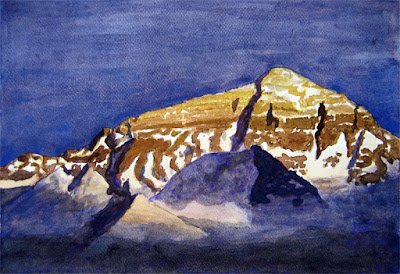 Watercolor Painting of a Mountain