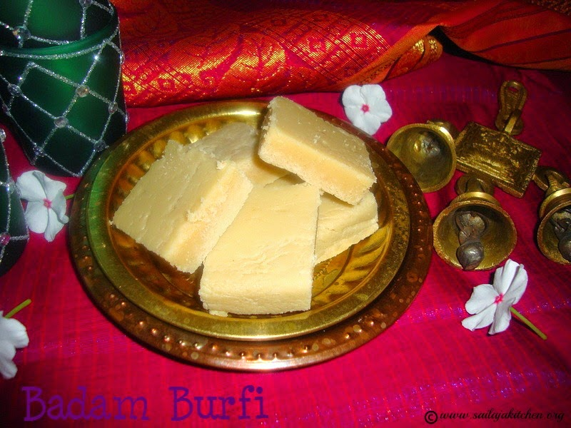 images for Badam Burfi Recipe / Almond Burfi Recipe / Indian Almond Fudge Recipe - Diwali Recipe
