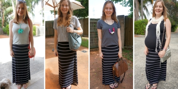 4 Monochrome Outfit ideas with black and white striped maxi skirt | AwayFromTheBlue