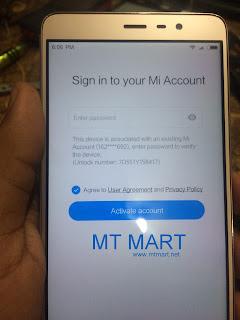 Redmi Note 3 MTK MI Account remove done