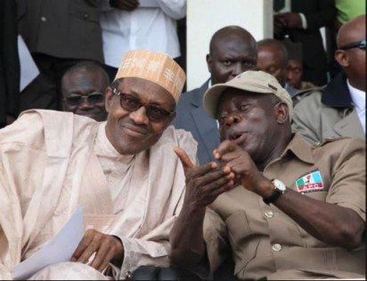 Oshiomhole and Buhari at APC caucus meeeting