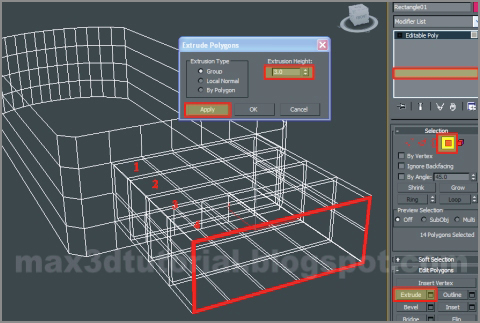 extrude 3ds max polygon