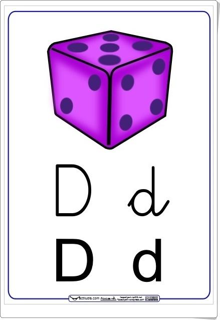 """Letra """"D"""" en letra cursiva y de imprenta (Cuadernillo del método Actiludis)"""