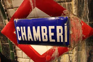 Antiguo cartel de la estación de metro de Chamberí