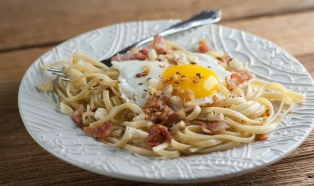 Sunny Side Up Eggs and Bacon Spaghetti