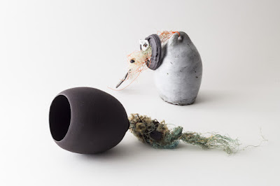 'Stone Buoy' and 'Night Buoy' Ceramic and mixed media pieces by Elaine Bolt