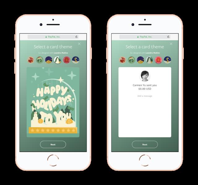 Paypal P2P digital holiday greetings