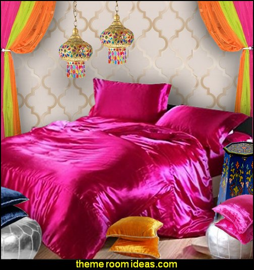 jeannie bedroom bedding   I Dream of Jeannie theme bedrooms - Moroccan style decorating - Jeannie bedroom harem style - Arabian Nights theme bedrooms - bed canopy - Moroccan stencils - I dream of Jeannie bottle - satin bedding - throw pillows - Moroccan furniture