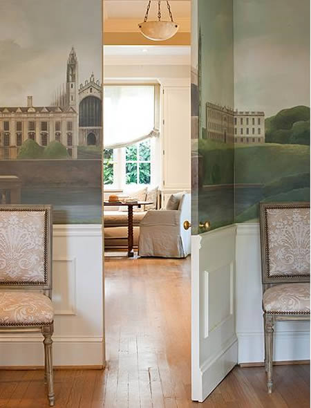 Here is an ex&le of a jib door decorated in a grisaille wallpaper mural in the NY apartment of designer Howard Slatkin. & Eye For Design: Decorating With Jib Doors.......Secret Doors Hidden ...