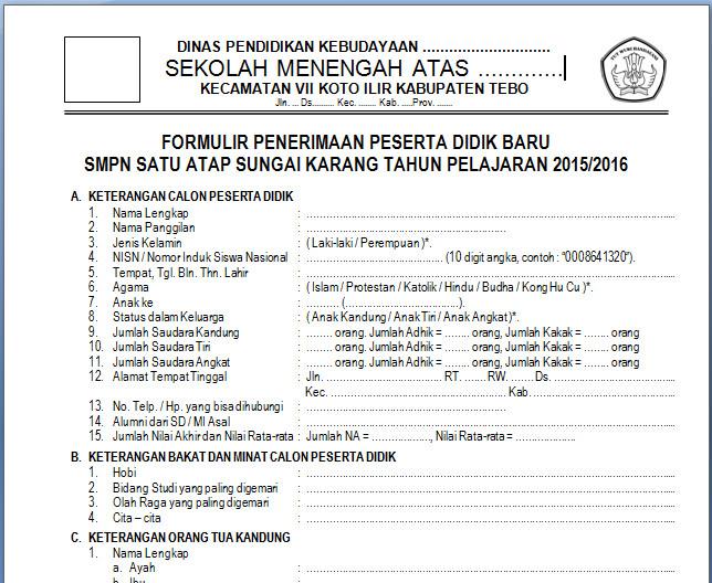 Formulir Pendaftaran Siswa Baru (PSB) SMP/MTs