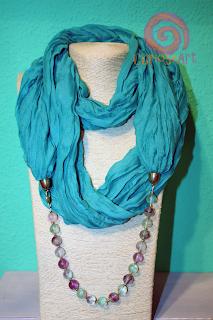 Curioseart - Fular-collar color azul verdoso con piedras fluoritas