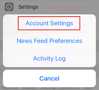 Tap Settings -- Account Settings