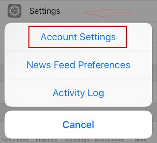 Tap Settings -- Account Settings