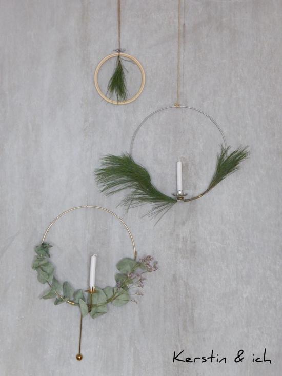 DIY Kranz mit Eukalyptus, Lichterkranz, Kranz mit Stickrahmen