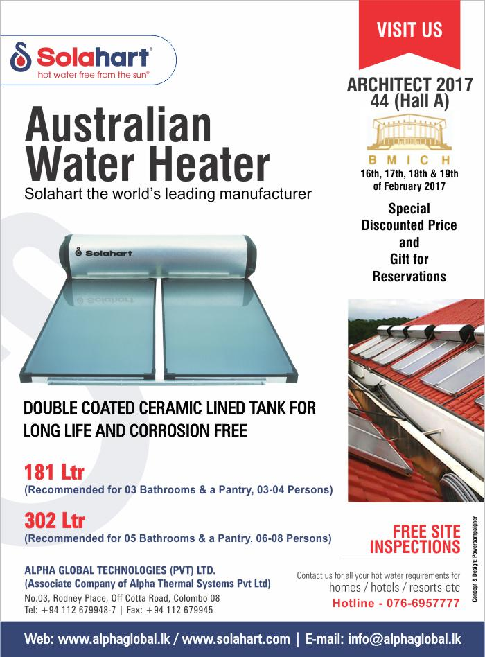 Hot Water Free from the Sun | Meet us at Architect 2017 - BMICH.