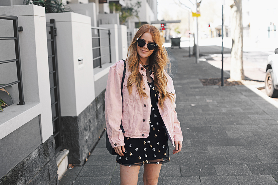Kiara King, pink denim jacket, sequin mesh dress, Fendi Arrow Accent Sunglasses, Status Anxiety bag