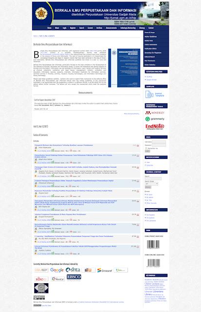 Jurnal Berkala Ilmu Perpustakaan dan Informasi UGM