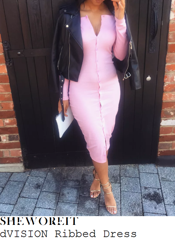 danielle-armstrong-dvision-baby-pink-long-sleeve-plunge-front-button-up-ribbed-bodycon-midi-dress