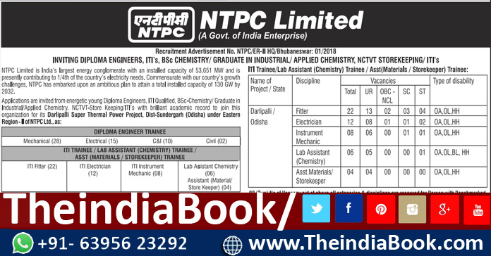 NTPC Recruitment For 107 Diploma Trainee, ITI Trainee & Other Posts 2018