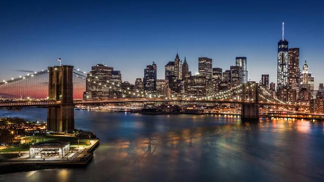 New York tapetti brooklyn bridge yö