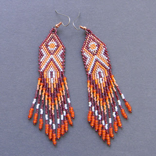 купить изделия из бисера в интернет магазине этнические сережки из бисера