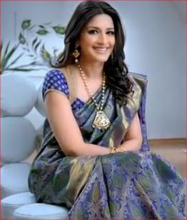 double shaded blue colour silk saree