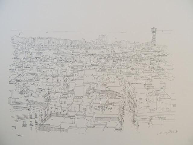 Aurora Altisent arte litografía dibujo moderno vista de Barcelona montjuich puerto