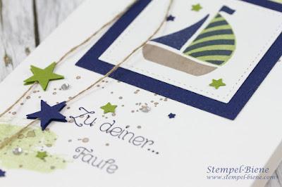 Taufkarte Jungs; Stampinup Taufkarte; gorgeousgrunge; Segenswünsche; Swirlybird; stampinup blog; stempel-Biene; stempelworkshops; Bastelspass in RE