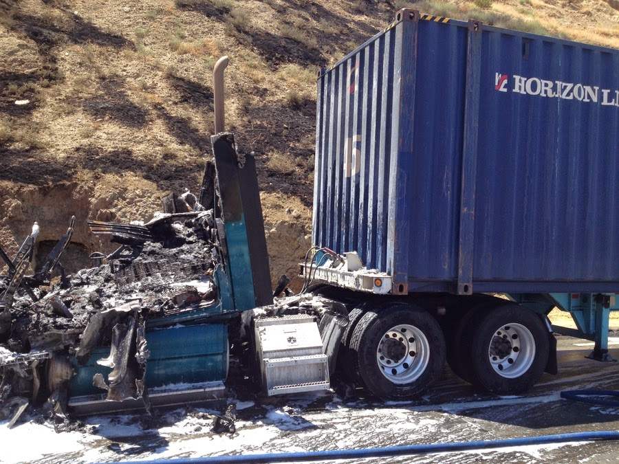 kern county interstate 5 semi truck fire grapevine highway crash