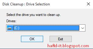 pilih partisi c di disk cleanup