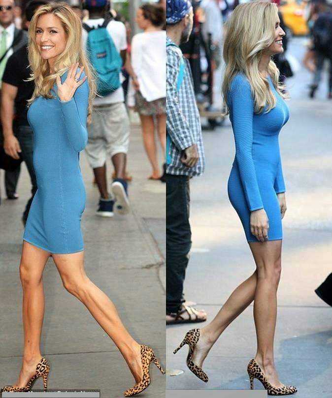 Kristin Cavallari Wearing A Blue Dress With Cheetah High Heels