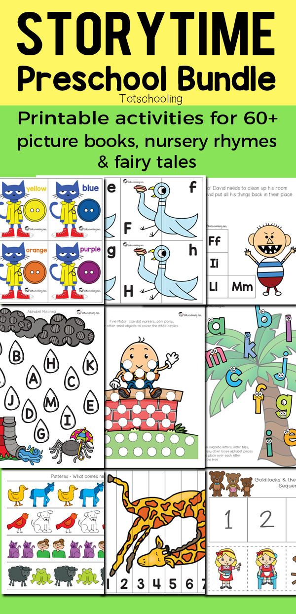 Huge bundle of preschool printable activities based on 64 popular picture books, nursery rhymes and fairy tales. Kids will love learning math, literacy and fine motor skills with all of their favorite characters from their favorite stories! Pete the Cat, Chicka Chicka Boom Boom, Goodnight Moon, Brown Bear, No, David!, Pigeon series, Elmer, Corduroy, If you Give a Mouse series, Mouse Paint, 3 Little Pigs, Goldilocks & the 3 Bears, The Gingerbread Man, Humpty Dumpty, Itsy Bitsy Spider and so much more!