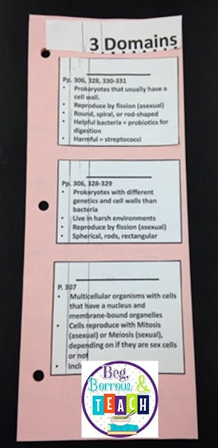 3 scientific domains and 6 kingdoms interactive notebook foldable.  Differentiated fill-in-the-blank.