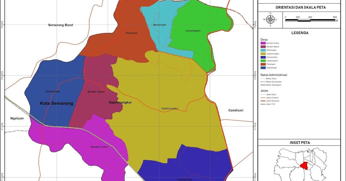 Peta Administrasi Kecamatan Gajahmungkur, Kota Semarang ...