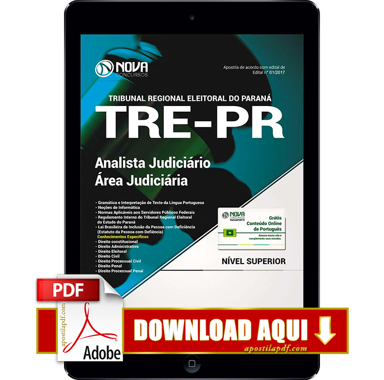 Apostila TRE PR 2017 PDF Download Analista Judiciário Área Judiciária