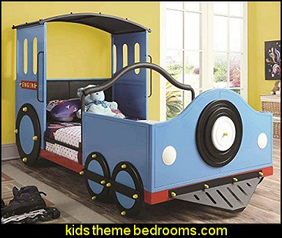 Twin Train Bed  theme beds - novelty furniture - woodworking bed plans - unique furniture - novelty furniture - themed furniture - themed beds - castle themed bed - castle loft beds - boat bed - Pirate Ship Bed - BATMOBILE BED - train bed - princess carriage beds - Doll house Beds