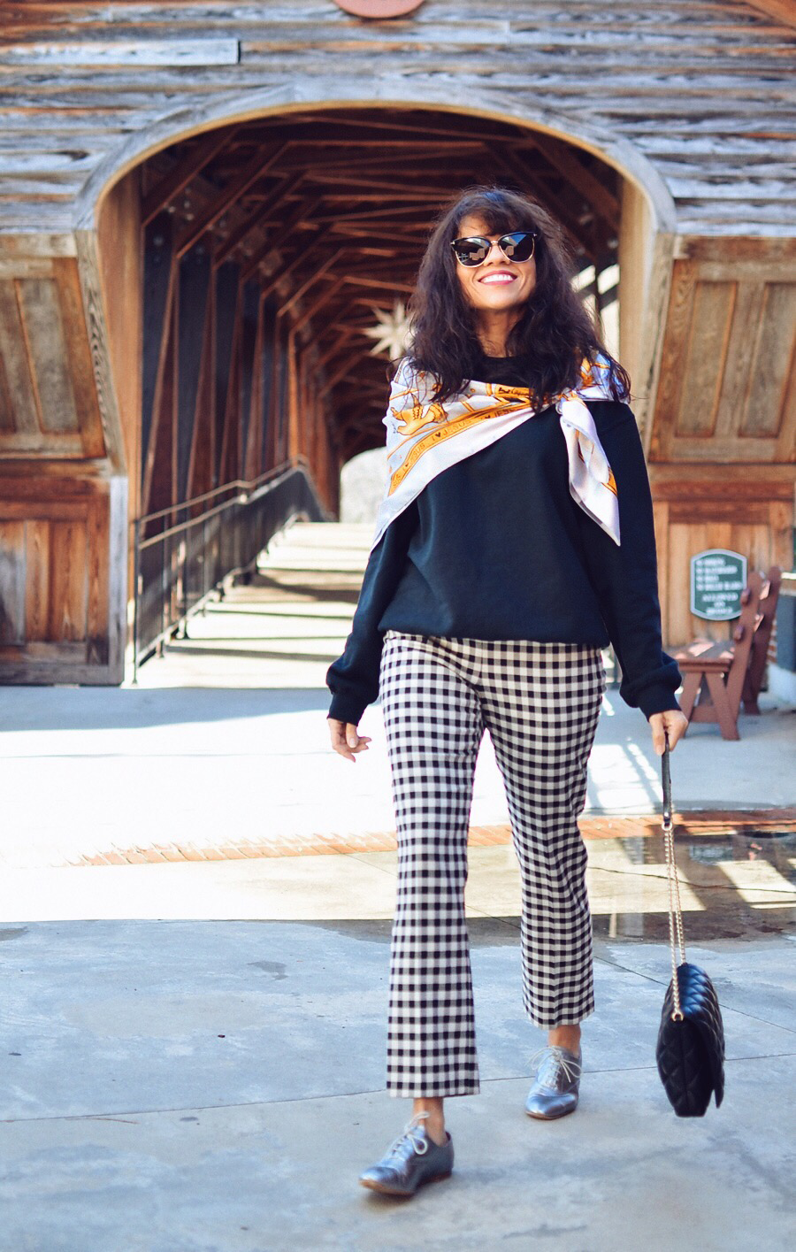 Gingham pants street style