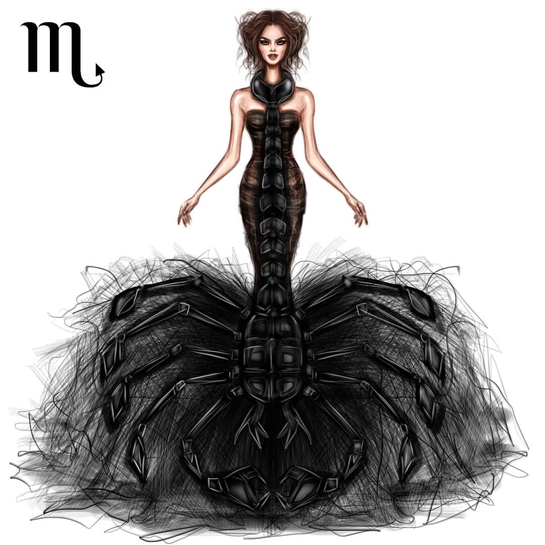 08-Scorpio-Shamekh-Bluwi-Zodiac-Haute-Couture-Exquisite-Fashion-Drawings-www-designstack-co